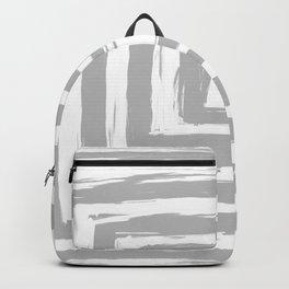 Minimal Light Gray Brush Stroke Square Rectangle Pattern Backpack