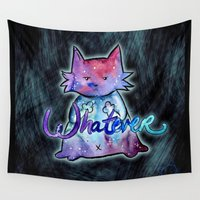 whatever Wall Tapestries featuring whatever-cat by Lyxy