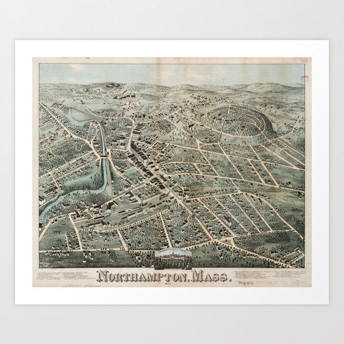 Vintage Pictorial Map of Northampton MA (1875) Kunstdrucke