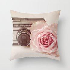 Rose & The Camera  Throw Pillow
