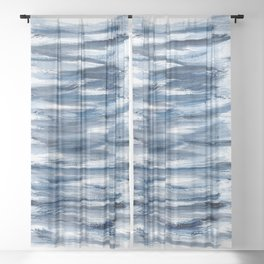 Just Indigo 2 | Minimalist Watercolor Sheer Curtain