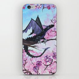 Baby Black Dragon in Cherry Tree iPhone Skin