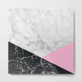 Geometric White Marble - Black Granite & Pink #632 Metal Print