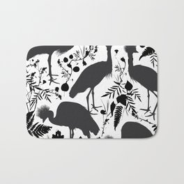 Black crowned crane with grass and flowers black silhouette Bath Mat
