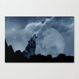 Wolf howling at full moon Canvas Print