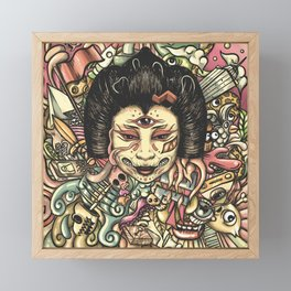 Geisha Doodle Flat Framed Mini Art Print