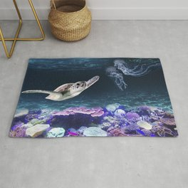 Sea Turtle swimming near Coral Reefs and Jellyfish Rug