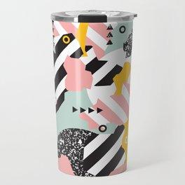 Spliced Geometric Memphis Pattern Geo Stripes Travel Mug