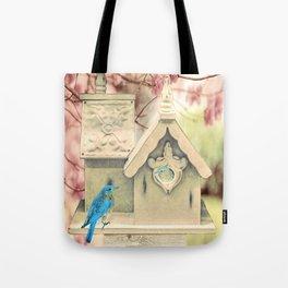Bluebird White Birdhouse Country Home Decor A371 Tote Bag