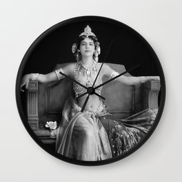 Mata Hari, Famous French Dancer and Femme fatale black and white photograph / black and white photography Wall Clock