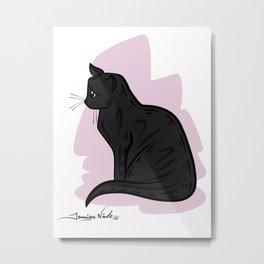 Black Cat Pink Background 2-13-15 Metal Print