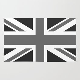 UK Flag, High Quality in grayscale Rug