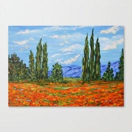 Poppy Meadow, Poppy Field Impressionist Painting Canvas Print