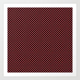 Black and Cayenne Polka Dots Art Print