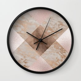Copper and Blush Rose Gold Marble Gingham Wall Clock