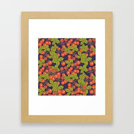 mysterious night in space garden with cherry tomatoes and basil Framed Art Print