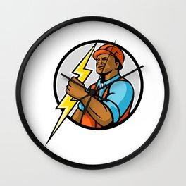 African American Electrician Lightning Bolt Mascot Wall Clock