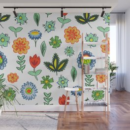 Fun Folk Floral Pattern Wall Mural