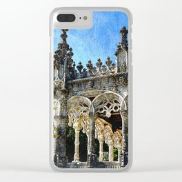 Gothic tracery at Bucaco, central Portugal Clear iPhone Case