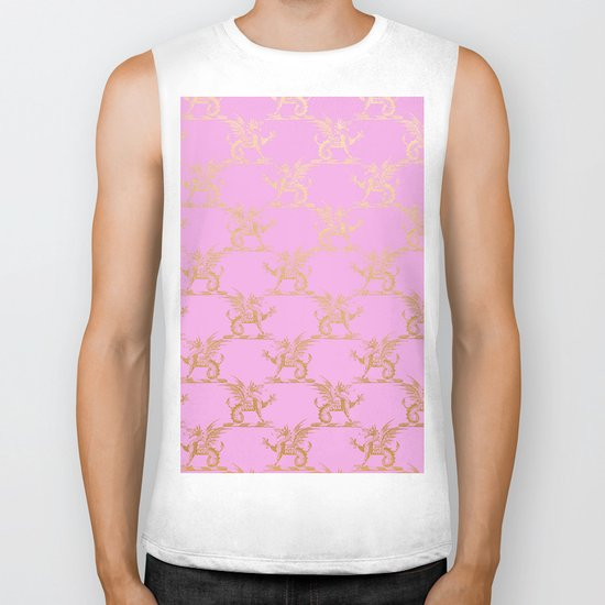 Princess like I - Gold glitter effect lion pattern on pink background #Society6 Biker Tank