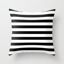 Midnight Black and White Stripes Throw Pillow