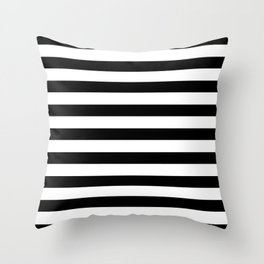 Midnight Black and White Stripes Throw Pillow