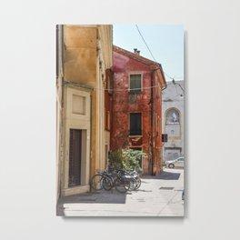 Italian Street and Bikes Metal Print
