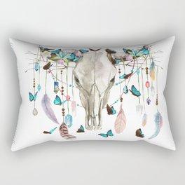 Butterfly Cow Skull Spirit Gazer Rectangular Pillow