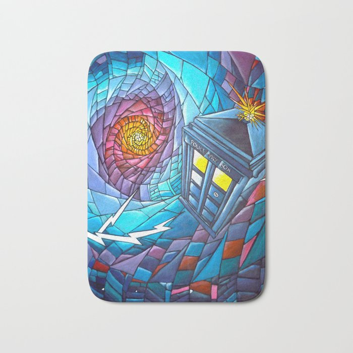 Tardis stained glass style Bath Mat
