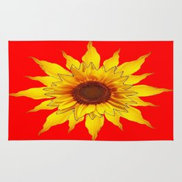 Decorative Yellow Sunflower On Chinese red Art Rug