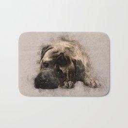 Bullmastiff Puppy Sketch Bath Mat