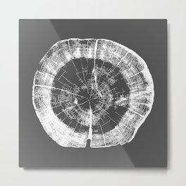 Tree Rings - Dark Gray Metal Print