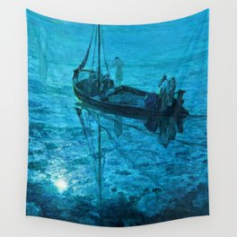 African American Masterpiece 'Disciples See Jesus Walk on Water from Boat' by Henry Ossawa Tanner Wall Tapestry