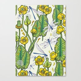 yellow water lilies and dragonflies Canvas Print