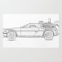 delorean Area & Throw Rugs featuring Great Scott! It's a DeLorean! by Olivia Nicholls-Bates