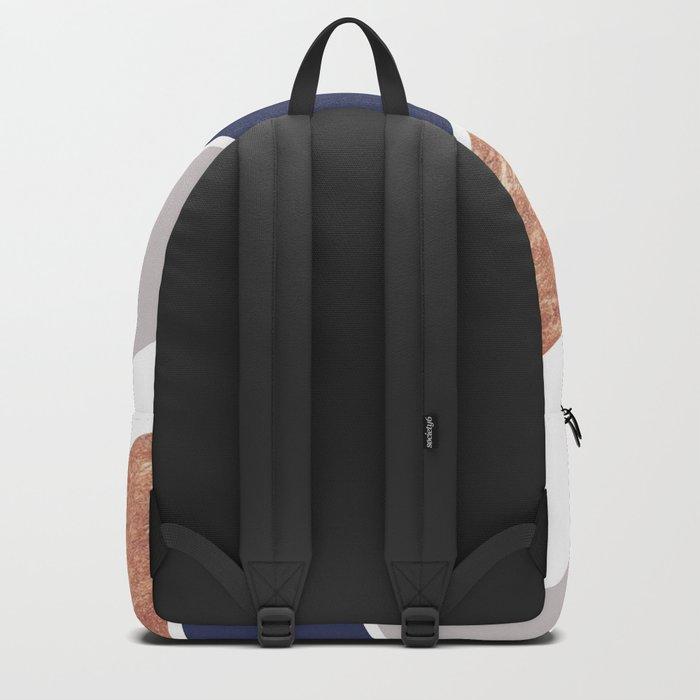 Scandinavian Copper Navy Gray Geometric Pattern Backpack