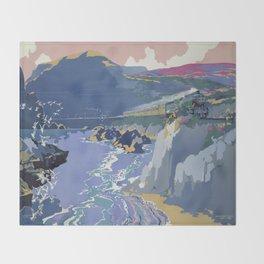 Mid Century Modern Vintage Travel Poster Art British Railways Train Landscape Colorful Pop Art Throw Blanket
