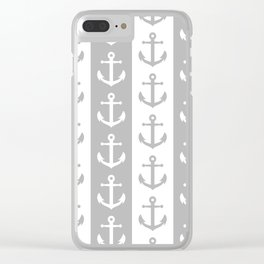 Nautical Sailor Stripes with Anchor Pattern Gray 241 Clear iPhone Case