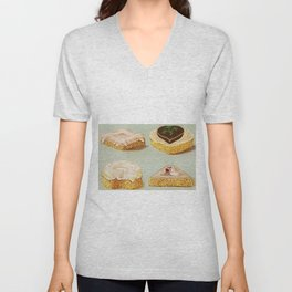 Decorated French Cakes Gateaux, Pastry, petit fours portrait painting Unisex V-Neck