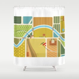 from above in the skies of Picardy Shower Curtain