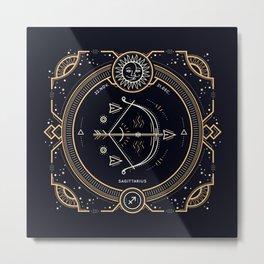 Sagittarius Zodiac Golden White on Black Background Metal Print