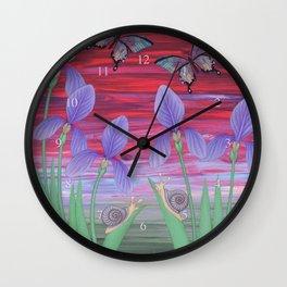 red sky iris garden Wall Clock