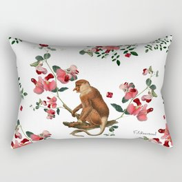 Monkey World: Nosy - White Rectangular Pillow