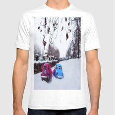 car White MEDIUM Mens Fitted Tee
