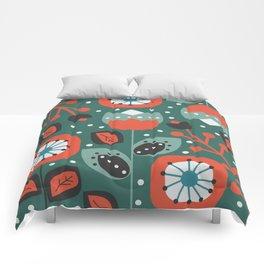 Retro flowers and snow Comforters