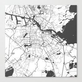 Amsterdam White on Gray Street Map Canvas Print