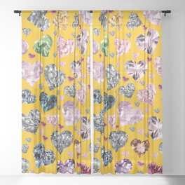 Heart Diamonds are Forever Love Yellow Sheer Curtain