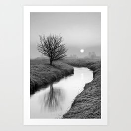 Misty Sunrise On The River Art Print