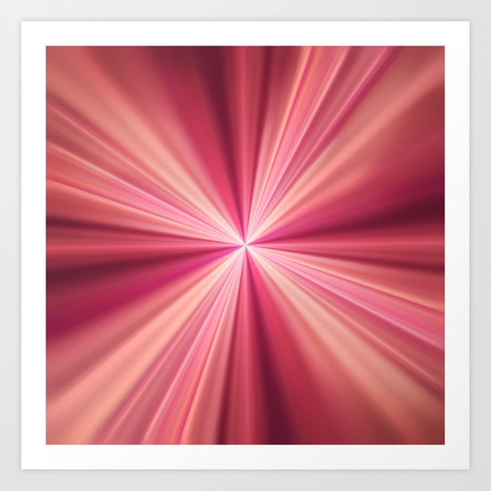 Pink Rays Abstract Fractal Art Art Print