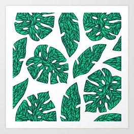 summer tropical leaves green Art Print